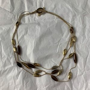 Monet Vintage Toggle Beaded Necklace Gold Tone